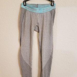 Gymshark flex leggings in gray and light blue.